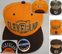 "Snap-Back Flat Bill Hat [CLEVELAND/""C""] Screen Print Brown/Orange"
